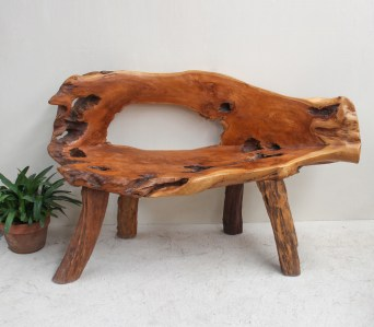 Etnik 1 Reclaimed Teak Root 2 seater bench seat